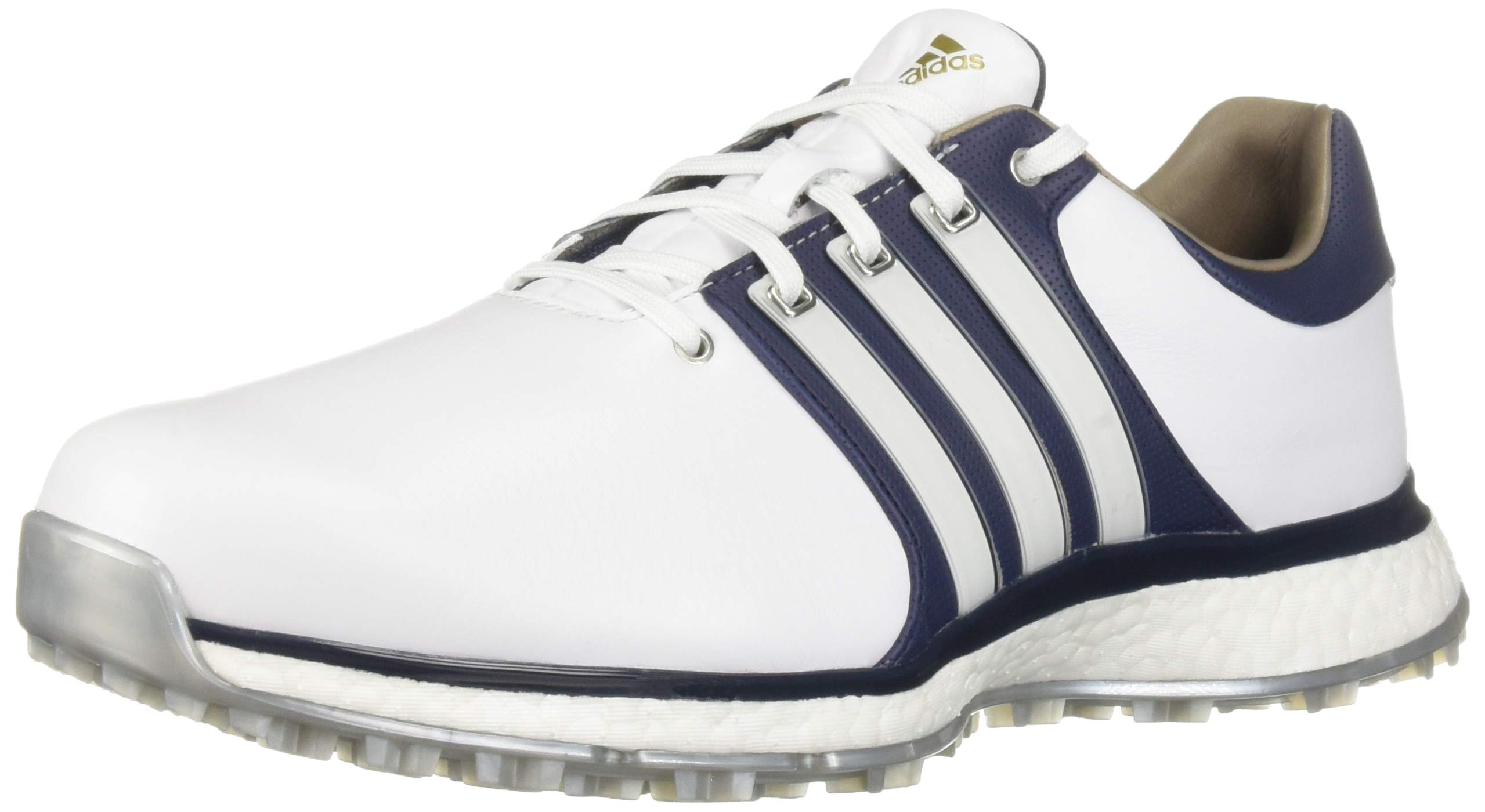 adidas Men's TOUR360 XT Spikeless Golf Shoe, FTWR White/Collegiate Navy/Silver Metallic, 7 M US