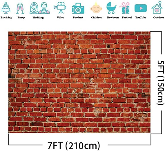 8X10FT-Christmas Red Brick Wall Photography Backdrops Festival Decoration House Photo Studio Background