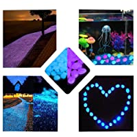 Kyson 200 Pieces Glow in The Dark Stones Luminous Garden Pebbles Rocks for Walkway Yard DIY Fish Tank Decorations Gravel Stones in Blue & Purple