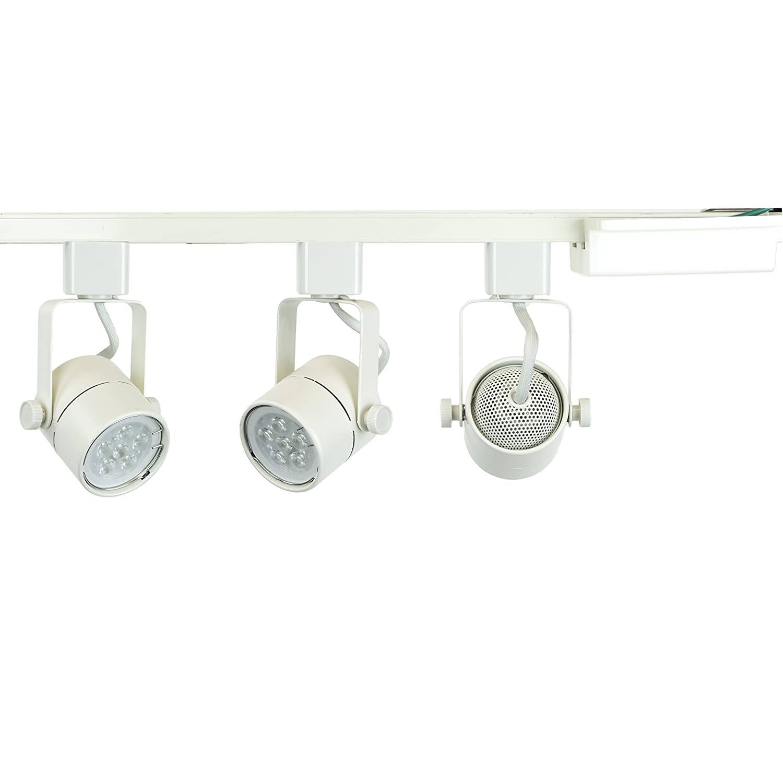 Direct lighting brand h system 3 lights gu10 7 5w led 500 lumens each track lighting kit white 3000k warm white bulbs included ht 50154l 330k white
