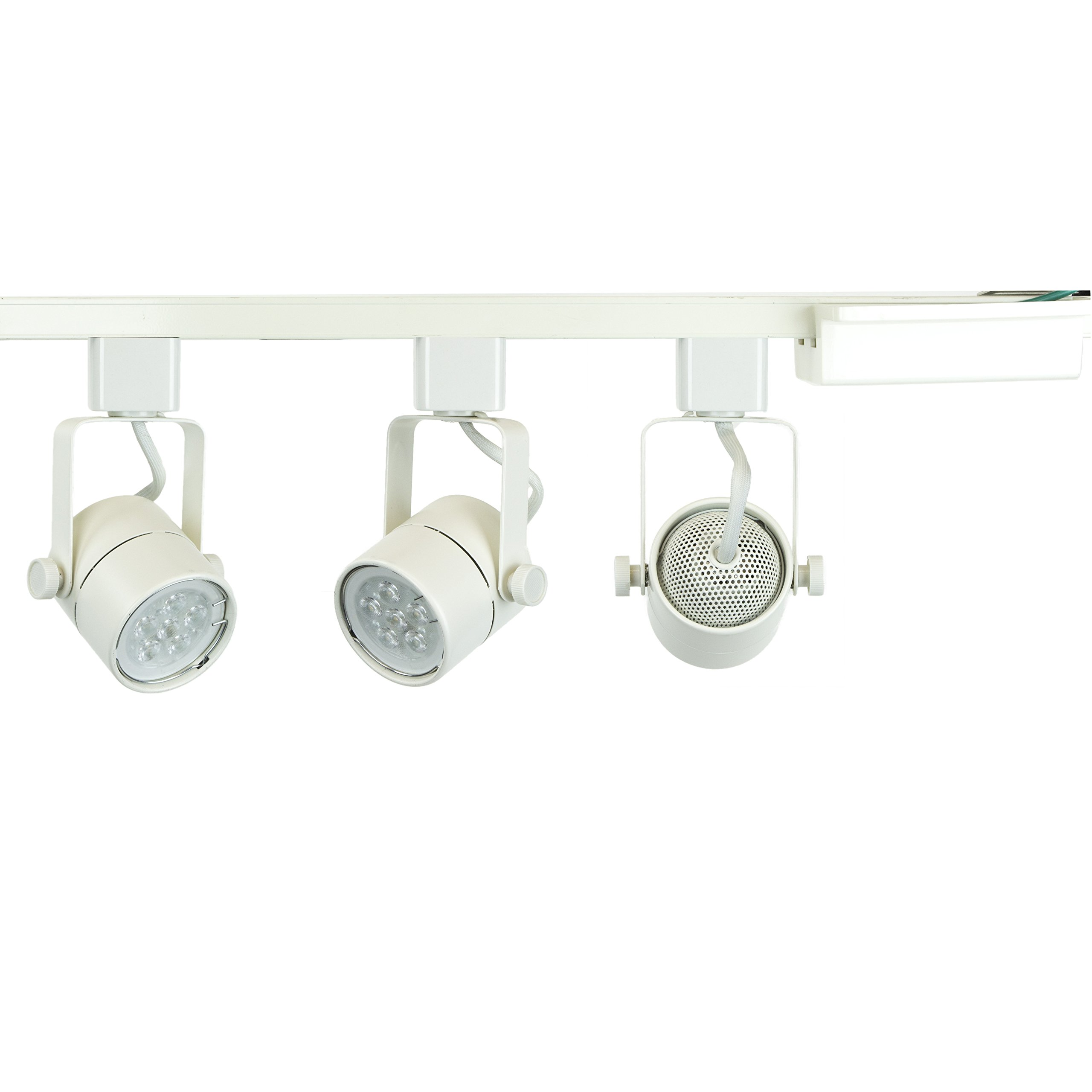 Direct-Lighting Brand H System 3-Lights GU10 7.5W LED (500 lumens Each) Track Lighting Kit White 3000K Warm White Bulbs Included HT-50154L-330K (White) by Direct-Lighting