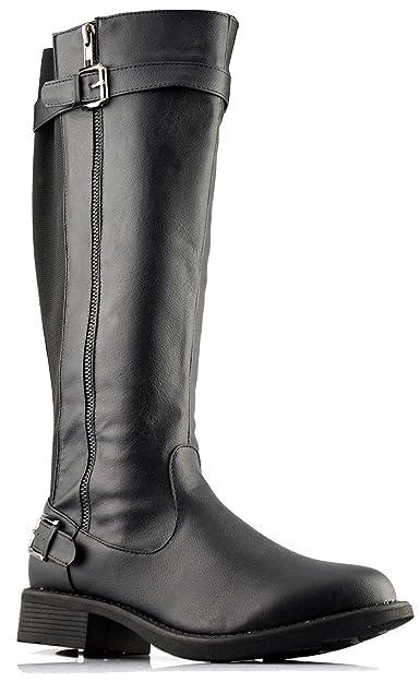 5ec70425c5e Heart And Sole Ladies Womens New Stretch Elastic Mid Calf Zip Riding Biker  Boots Shoes Size 3-8