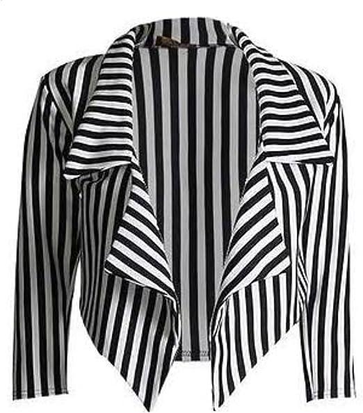 Da Donna Nero /& Bianco Verticale A RIGHE MANICA 3//4 CASCATA Crop Blazer Top