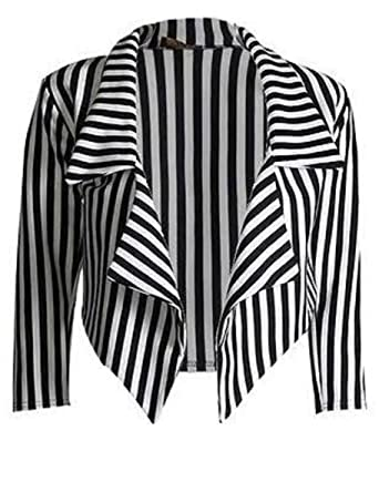 another chance b0161 1f91a MBC, giacca corta casual da donna a righe bianche e nere