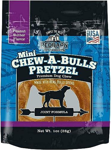 Redbarn Peanut Butter Pretzel Dog Chew, Mini, Chew-A-Bulls, 20 Pack
