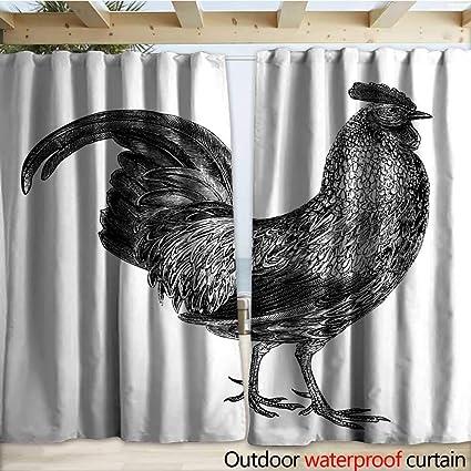 Amazon com : warmfamily Outdoor Door Curtain Grey Junglefowl