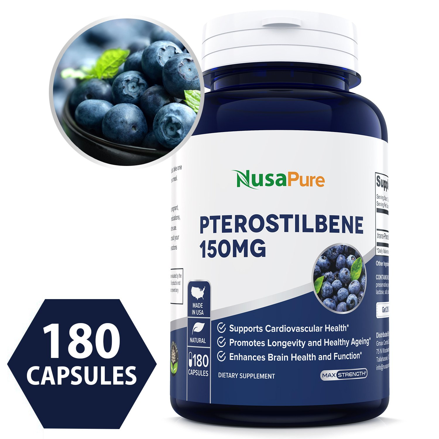 Best Pterostilbene 150mg 180 Caps (Non-GMO & Gluten Free) - Promotes Healthy Aging and Longevity - Better Than Resveratrol - 100% Money Back Guarantee - Order Risk Free!