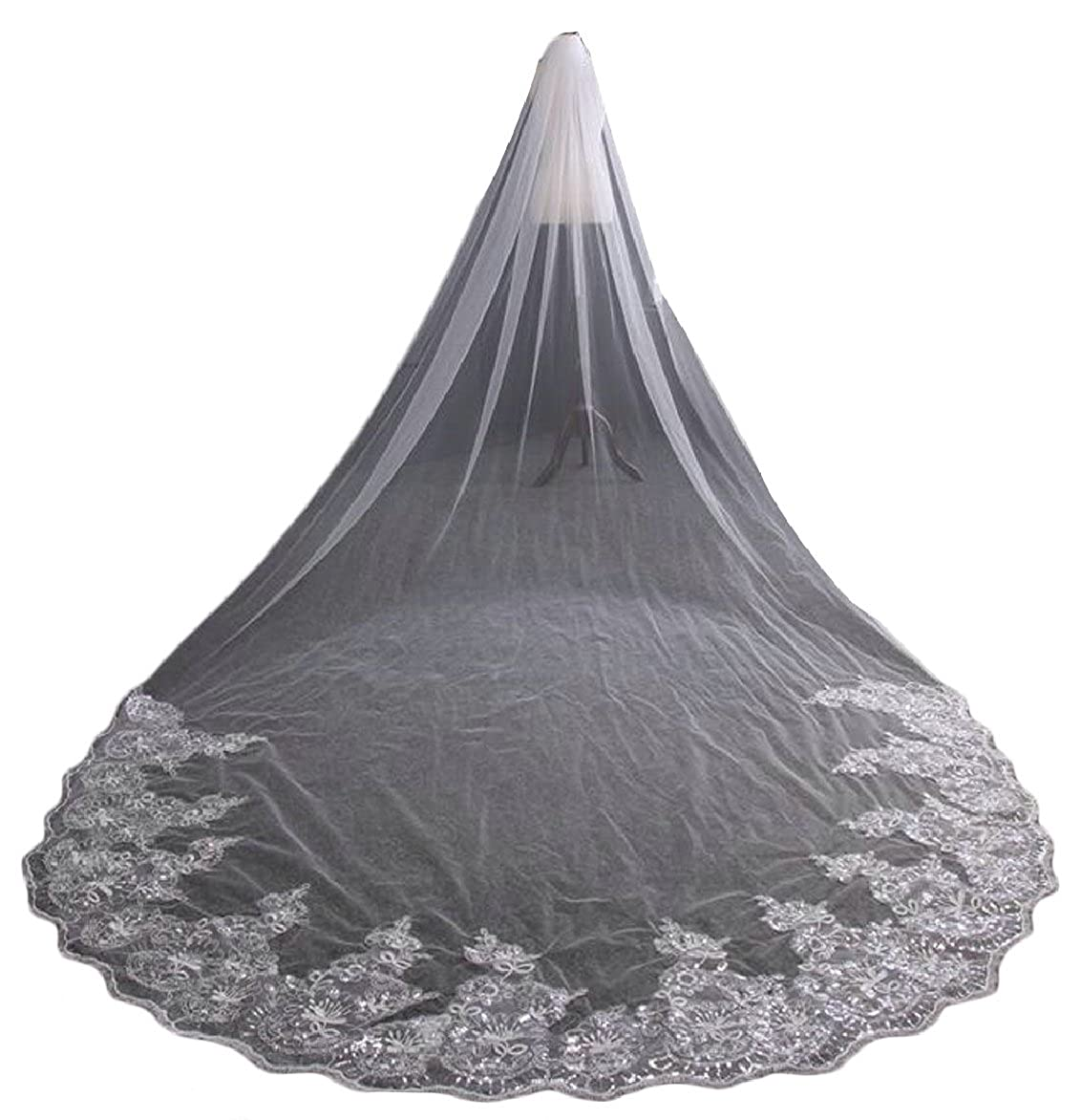 FLCH+YIGE Womens 3M Cathedral Lace Wedding Bridal Veil With Comb
