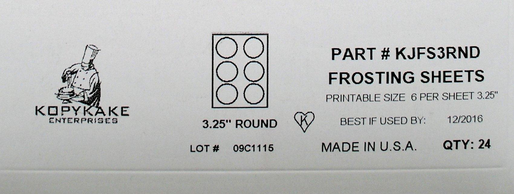 Kopykake KJFS3RND 3'' Circle Frosting Sheets (24 sheets per pack/ 3'' print area) by Kopykake (Image #2)