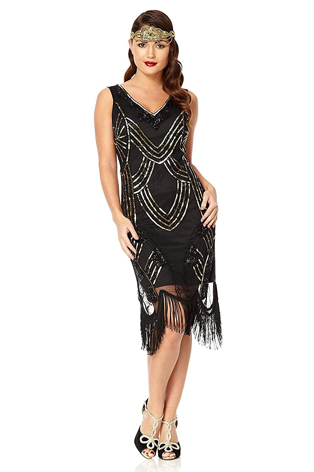 1920s Style Dresses, Flapper Dresses Juliet Vintage Inspired Fringe Dress in Black Gold £89.00 AT vintagedancer.com