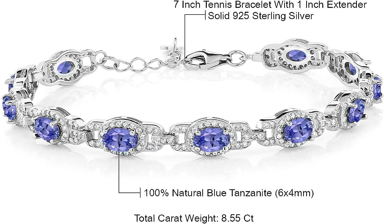 Acabado De Oro Blanco Azul Zafiro creado Diamante Pulsera de tenis gastos de envío gratis