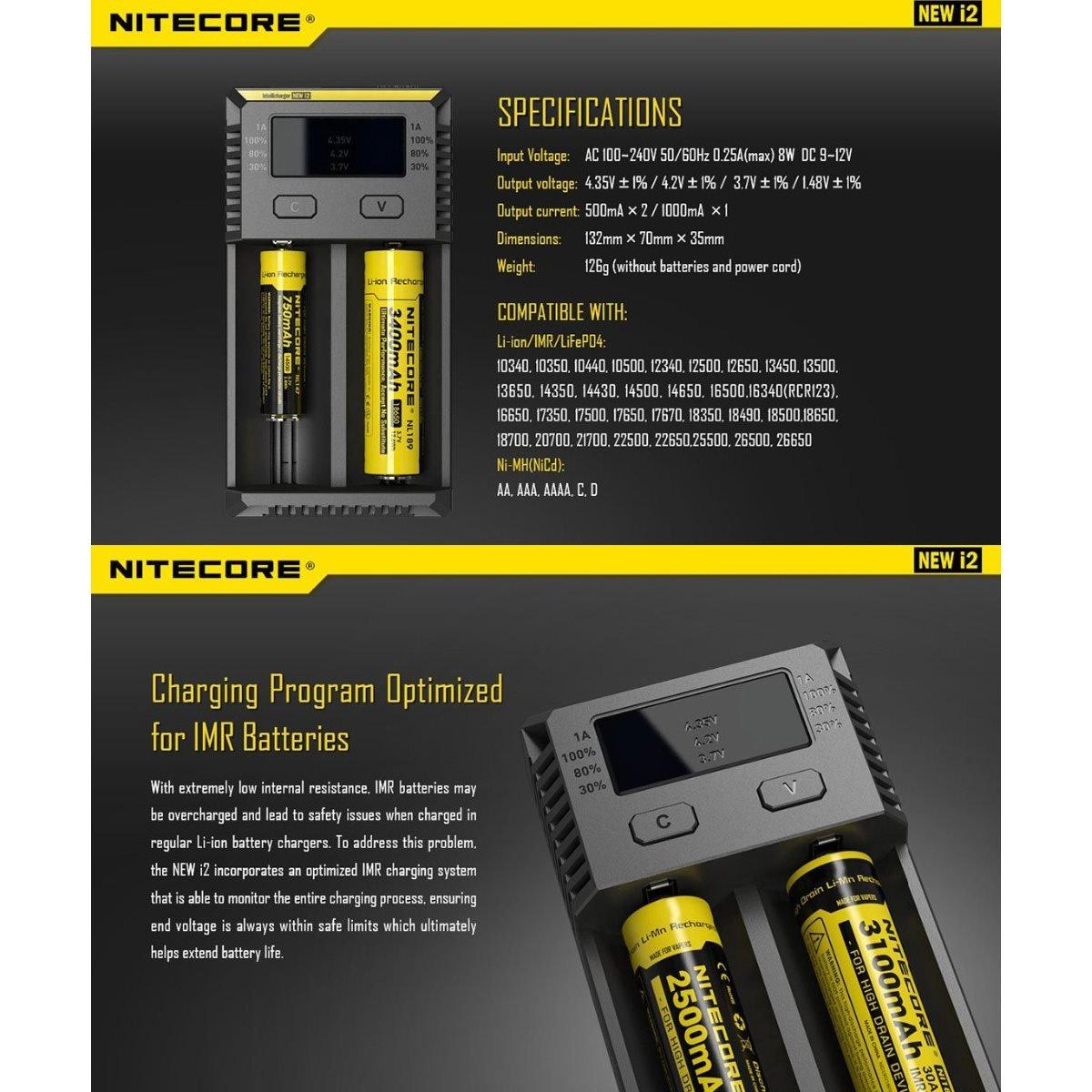 NITECORE i2 2016 Version Intellicharger Universal Smart Battery Charger For Li-ion/IMR/Ni-MH/Ni-Cd 26650 22650 18650 Batteries Charging