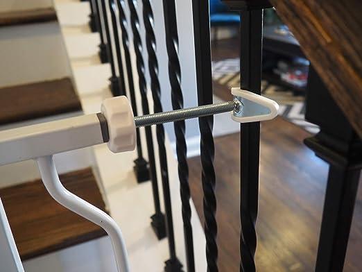 Paquete de 2 Piezas para Barreras de Seguridad para Beb/és y Mascotas Montadas a Presi/ón para Barandilla de Escaleras Baby Gate Guru Adaptador Extra Largas M10 10mm, Blanco 10mm