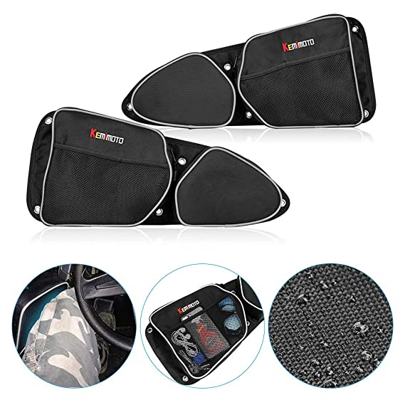 Side Door Bags for Polaris RZR, KEMiMOTO UTV Front Door Driver and Passenger Side Storage Bag Set with Knee Pad for 2014-2018 Polaris RZR XP 1000 ...