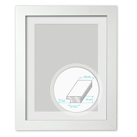 White Wooden Frame size 18x14 inches with White Mount 14x10 inches ...