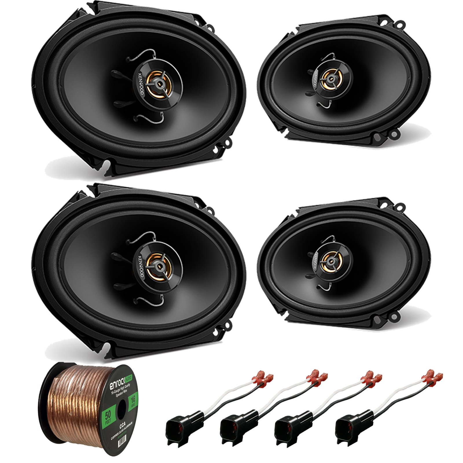 Car Speaker Set Combo Of 2 Kicker 6x8 Inch 450W 2-Way Car Coaxial Stereo Speakers Mercury Enrock 50ft 16g Speaker Wire Enrock Kicker Metra 43CSC684 72-5600 16G50FT 2 Metra 72-5600 Speaker Connector for Ford Mazda Lincoln