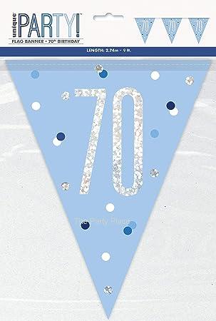 Unique Party- Banderines de 70 cumpleaños, Color azul, Edad (92087)
