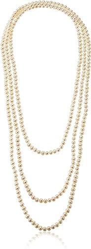 Amazon CollectionCultivadas De Agua Dulce 7-7,5mm Endless Strand Collar De Perla, 254cm