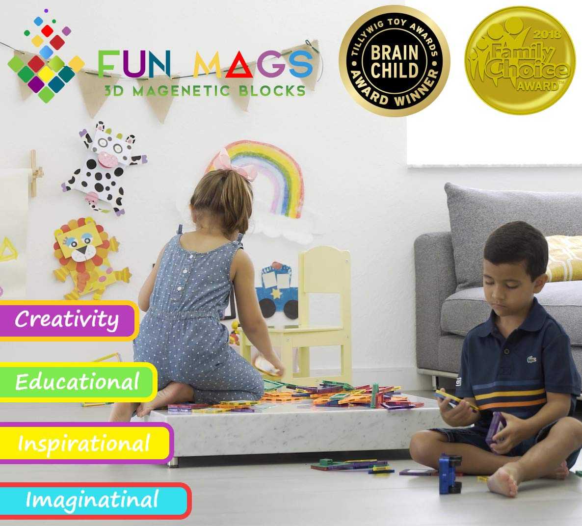 Fun Mags Magnetic Blocks 100-Piece Set 3D Magnetic Building Blocks, STEM Educational Magna Magnetic Tiles Magnet Toys for Kids, Toddlers by Lustien Toys (Image #4)