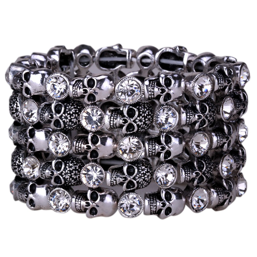 Yacq Jewelry Goth Skull Skeleton Hand Stacket Crystal Stretch Sleeve Cuff Bracelet Gifts for Women Biker