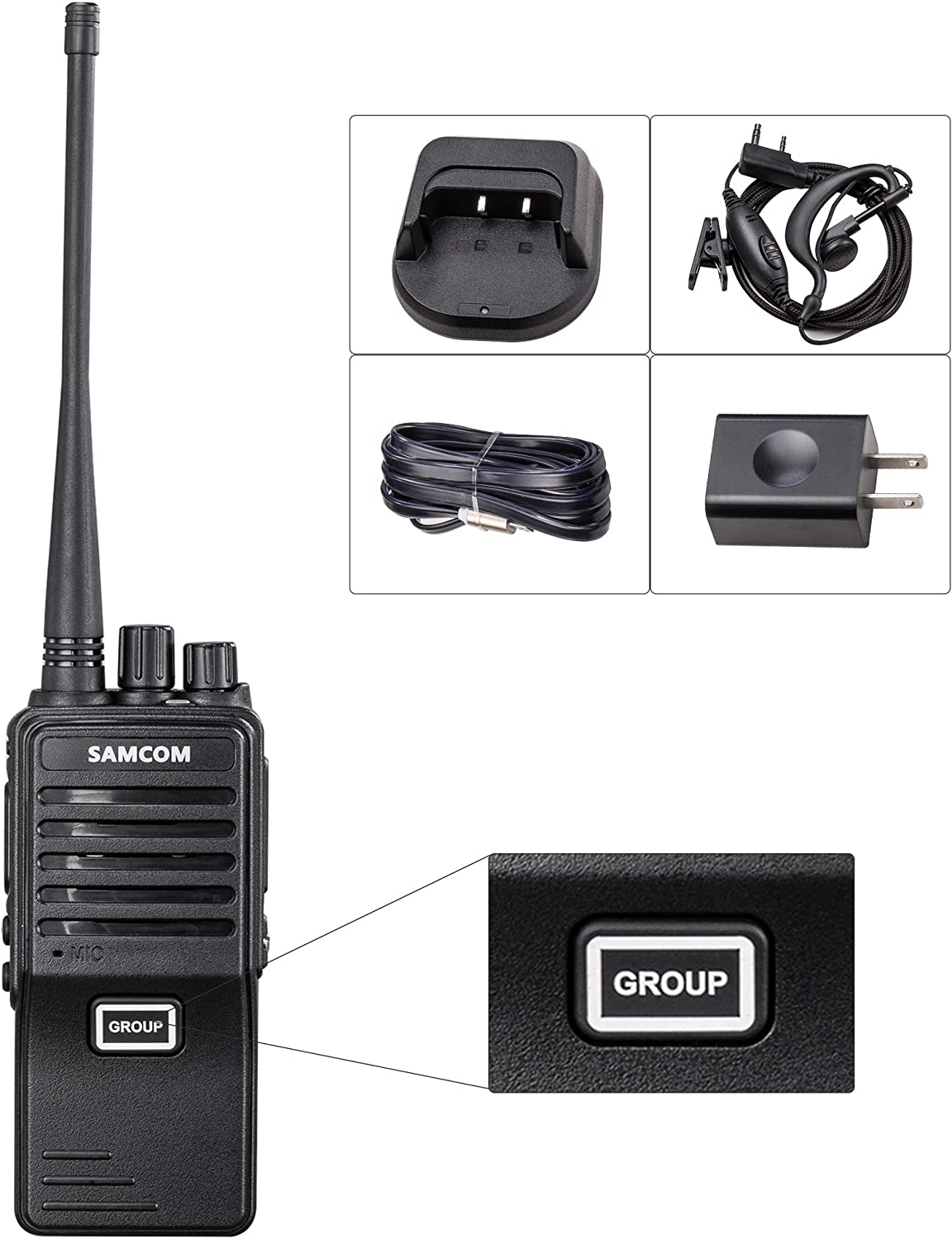 New 2 Set 2 Way Radio Long Range Samcom FPCN10A GMRS Walkie Talkie 20 Channels