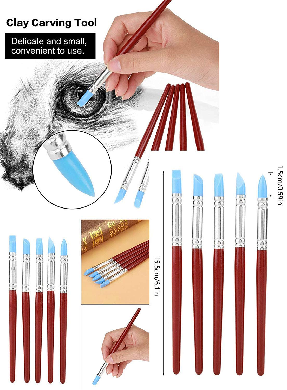5pcs Paint Brushes Rubber Pen Clay Sculpture Carving Pottery Color Tool Drawing