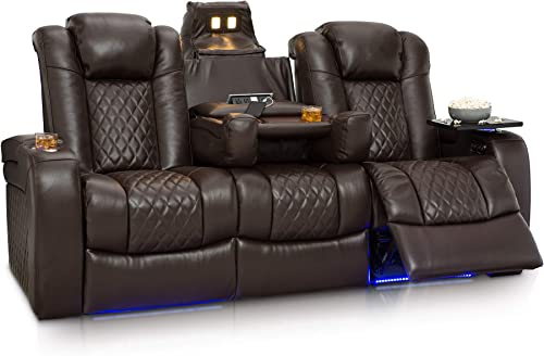 Seatcraft Anthem Home Theater Seating Leather Multimedia Power Recline Sofa with Fold-Down Table, Adjustable Powered Headrests, Storage, AC USB and Wireless Charging and Cup Holders, Brown