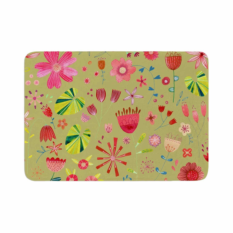 17 x 24 Kess InHouse Nic Squirrell Wild Meadow Olive,Pink,Floral,Digital,Illistration,Red Memory Foam Bath Mat