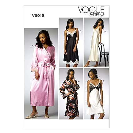 Vogue Patterns V9015 E5 - Patrones de costura para batas y camisones (tallas 14-