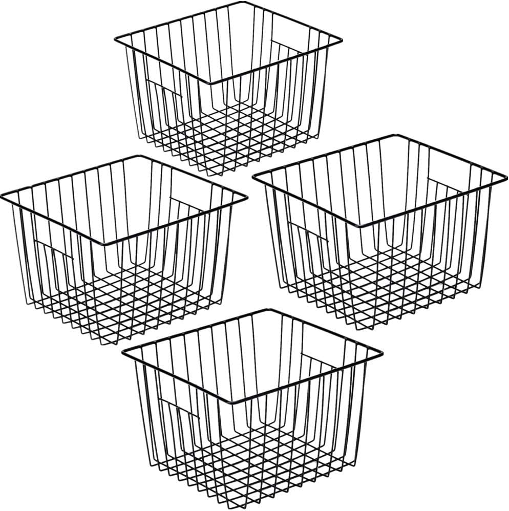 SANNO Wire Storage Basket Freezer Farmhouse Storage Organizer,4 Pack Metal Household Storage Organizer Bin with Built-in Handles for Pantry Shelf Kitchen Cabinet Bathroom Large BasketBlack