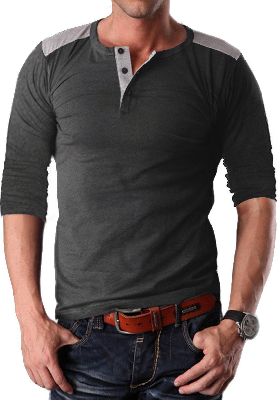 YTD Men's Casual Slim Fit Short Sleeve Henley T-Shirts Cotton Shirts (Large, 03 Long-Gray)