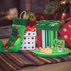 The Queen's Treasures Christmas Set:3 Boxes, Stocking, Platter, Mug, Cookies Accessory Compatible with 18