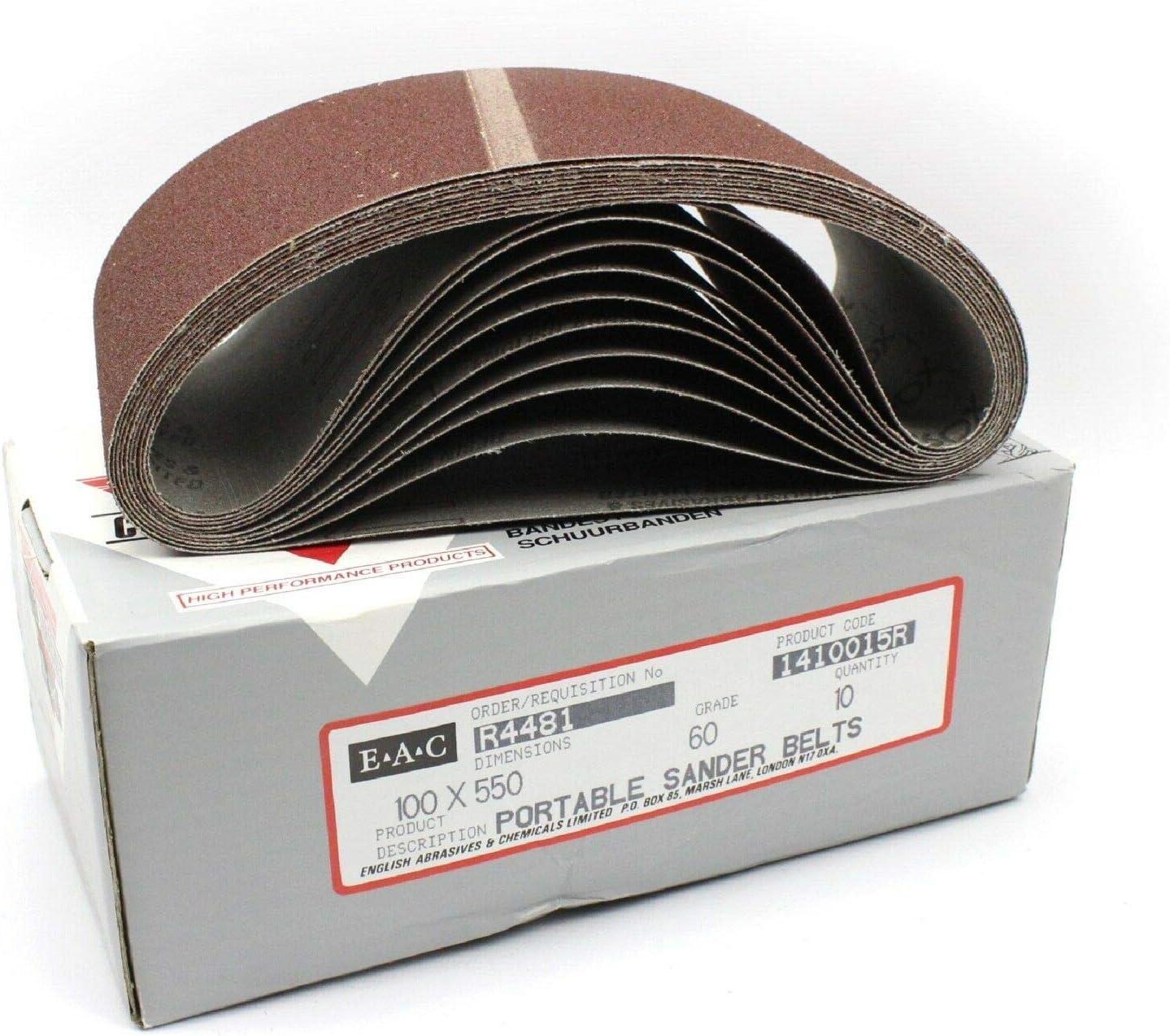 Lot de 10 bandes abrasives en oxyde daluminium 100 x 550 mm Grain 120 g.