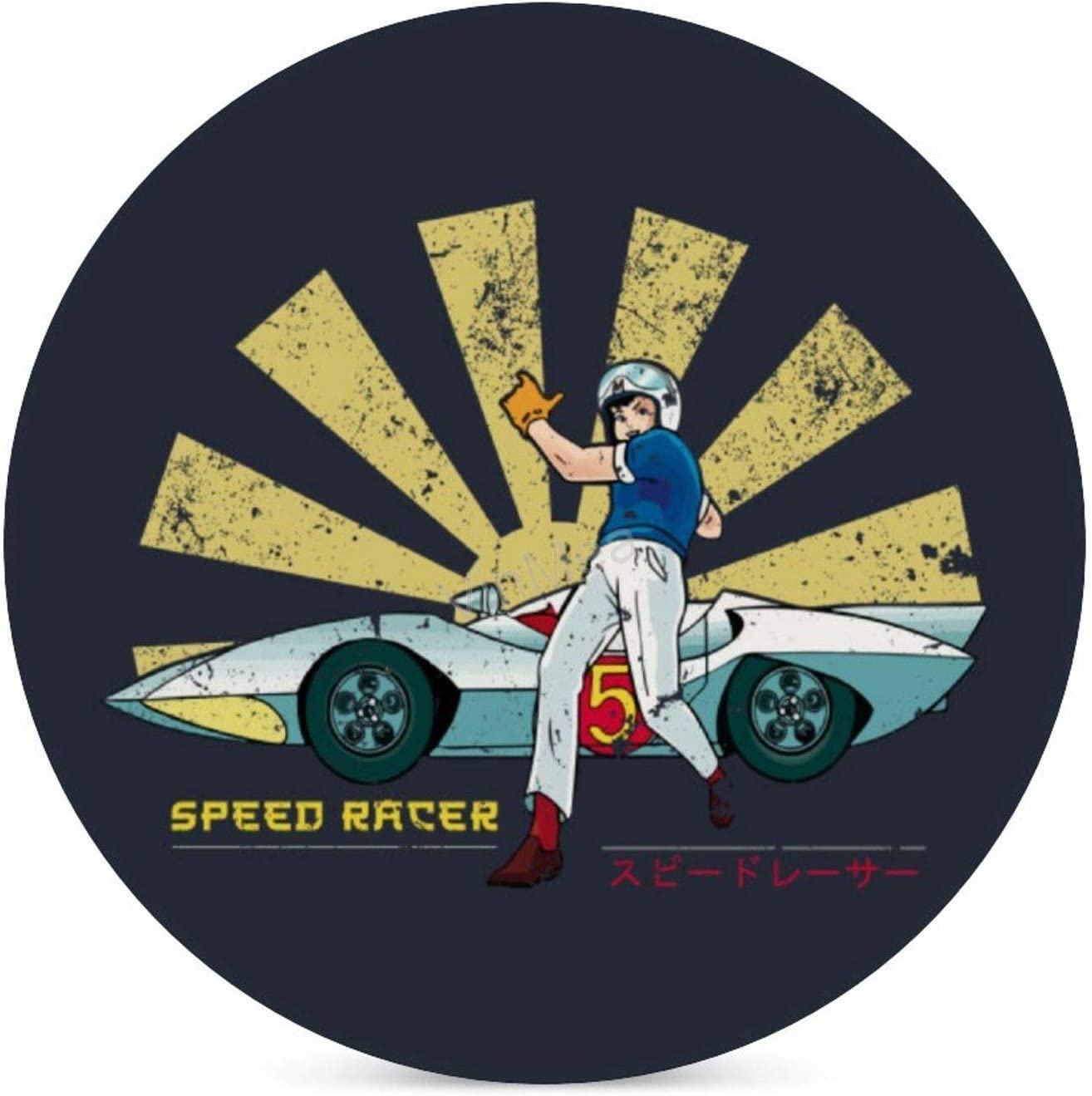 VinMea Round 4 Piece Coaster Set Speed Racer Retro Japanese Absorbent for Table, Desk and Bar