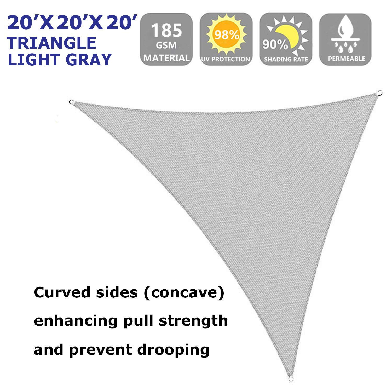 Shade Beyond Sun Shade Sail Triangle 20 x20 x20 UV Block for Yard Patio Lawn Garden Deck Light Grey
