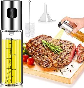 Olive Oil Sprayer Bottle, Norbase Oil Dispenser Mister for Cook Refillable Oil and Vinegar Dispenser Glass Bottle with Measurements for BBQ Baking Roasting Frying Oil Control Diet 100ml