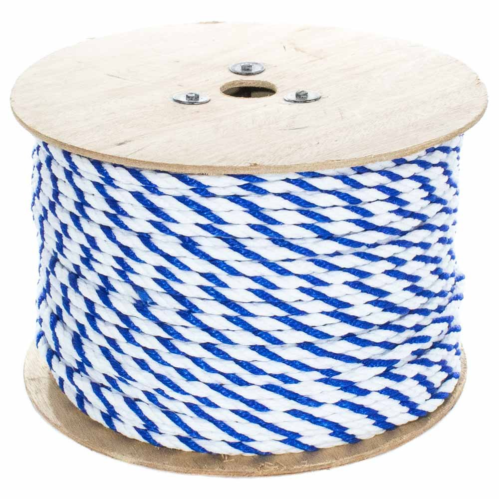 West Coast Paracord Twisted Polypropylene Pool Rope - 3 Strand Polypro Cord - Lightweight Utility Rope for Safety Lines, Pool Lanes - Blue and White (3/8 Inch x 200 Feet)