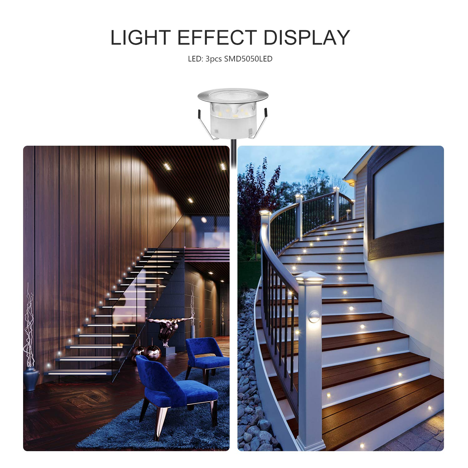 QACA Pack of 10 Low Voltage LED Deck Light Kit Waterproof Outdoor Step Stairs Garden Yard Patio Landscape Decor Lighting Blue Lamp