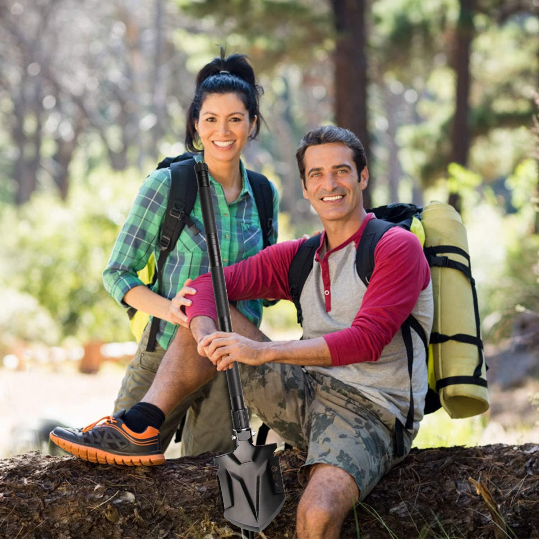 YBLANDEG Military Portable Folding Shovel,Multifunctional Ultimate Survival Shovel,Tactical Entrenching Tool for Camping Hiking,Hunting,Fishing,Car