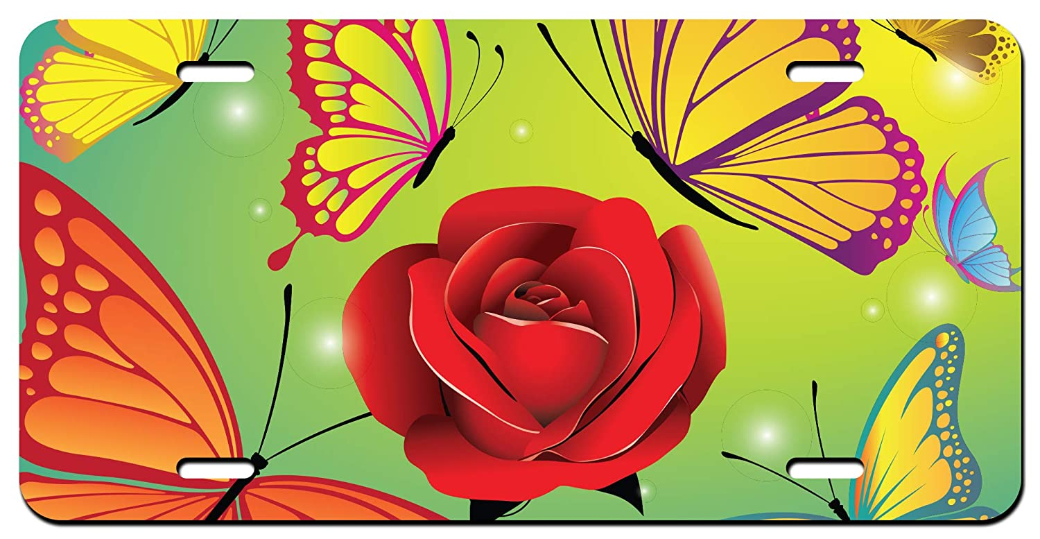 Butterflies and Flowers Printed Vanity Front License Plate Tag KCFP099 KCD