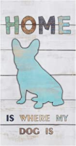 Kitchen Towels Lovely Bulldog Tea Towel Microfiber Absorbent Washable Wood Grain Simple Home is Where My Dog is Soft Hand Dish Towel Cleaning Cloth for Kitchen Bathroom,18 x 28 Inch