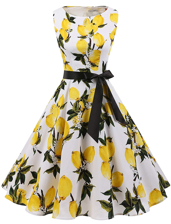 Gardenwed 1950s Cocktail Dress Retro Rockabilly Party Swing Dress Vintage Dresses for Women