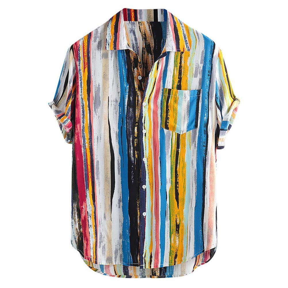 YYZHAO Mens Hawaiian Printed Shirt Beach Quick Dry Turn-Down Collar Casual Shirts