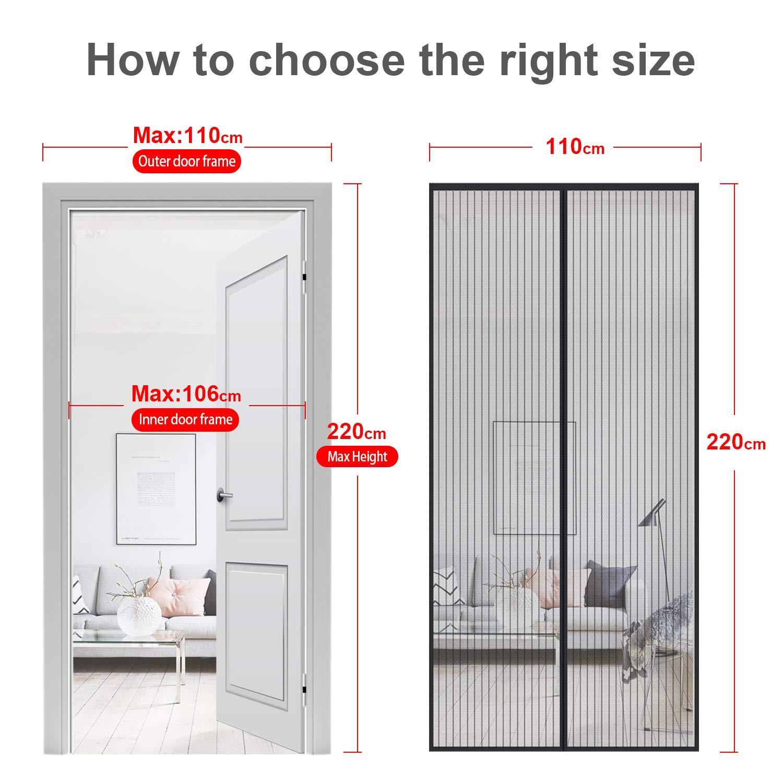 90 * 210 MYCARBON Mosquitera para puerta Protecci/ón contra insectos magn/ético