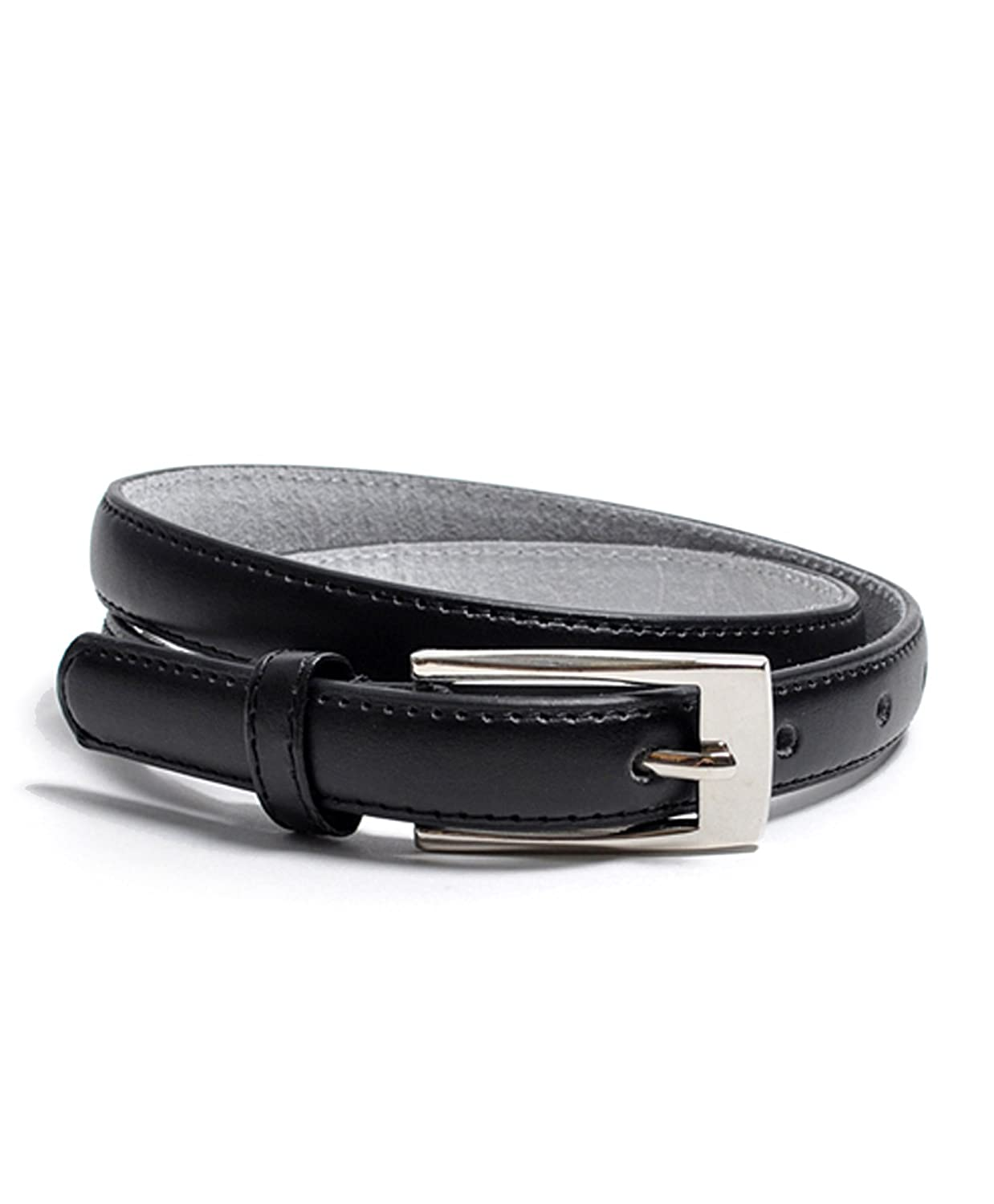 "Solid Color Leather Adjustable Skinny Belt, X Large (39""-43""), Black"