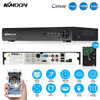 KKmoon 1080N/720P 4CH AHD DVR HVR NVR HDMI P2P Cloud Network Onvif Digital  Video Recorder & 1TB HDD Plug and Play Android/iOS APP Free CMS Browser