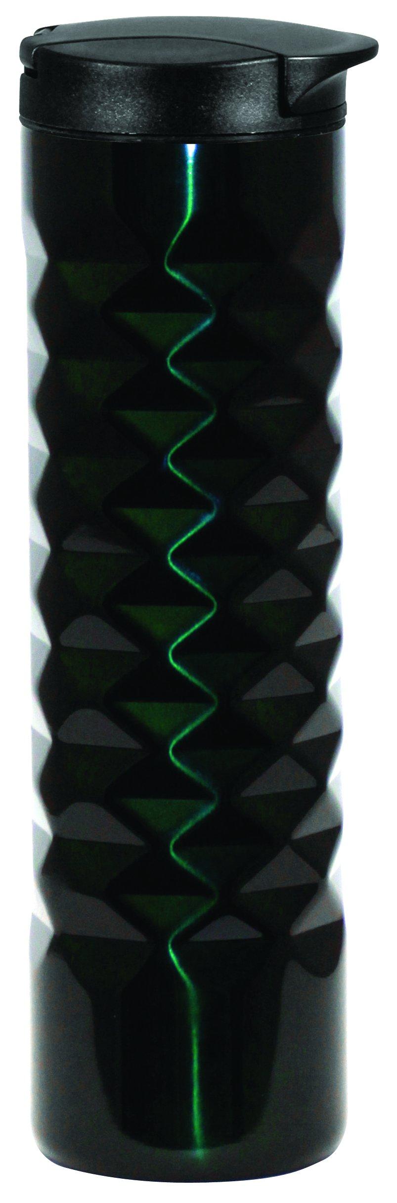 Green Canteen DWCM-7001-HG Stainless Steel Double Wall Coffee Mug with Diamond Design, 16 oz, Hunter Green