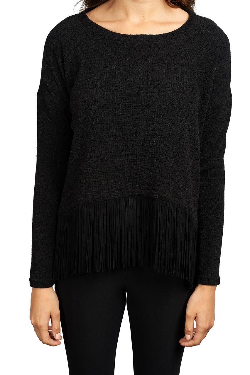 Joseph Ribkoff Black Sweater Top with Fringe Hem Style 163443 - Size 6 by Joseph Ribkoff