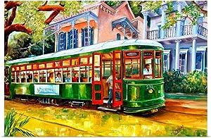 GREATBIGCANVAS Streetcar in The Garden District Fine Art Poster Print, New Orleans Home Decor Artwork, 60