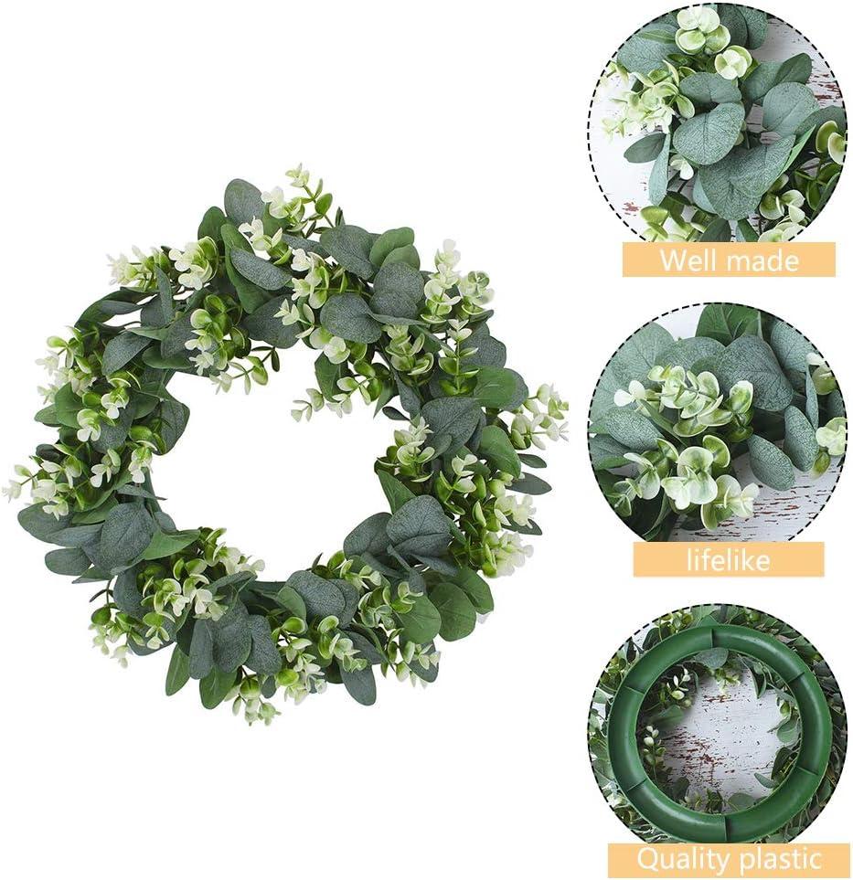 16 inch Artificial Babys Breath Flower Wreath White Floral Wreath Fake Gypsophila Door Wreath for Wedding Wall Window Home Decor
